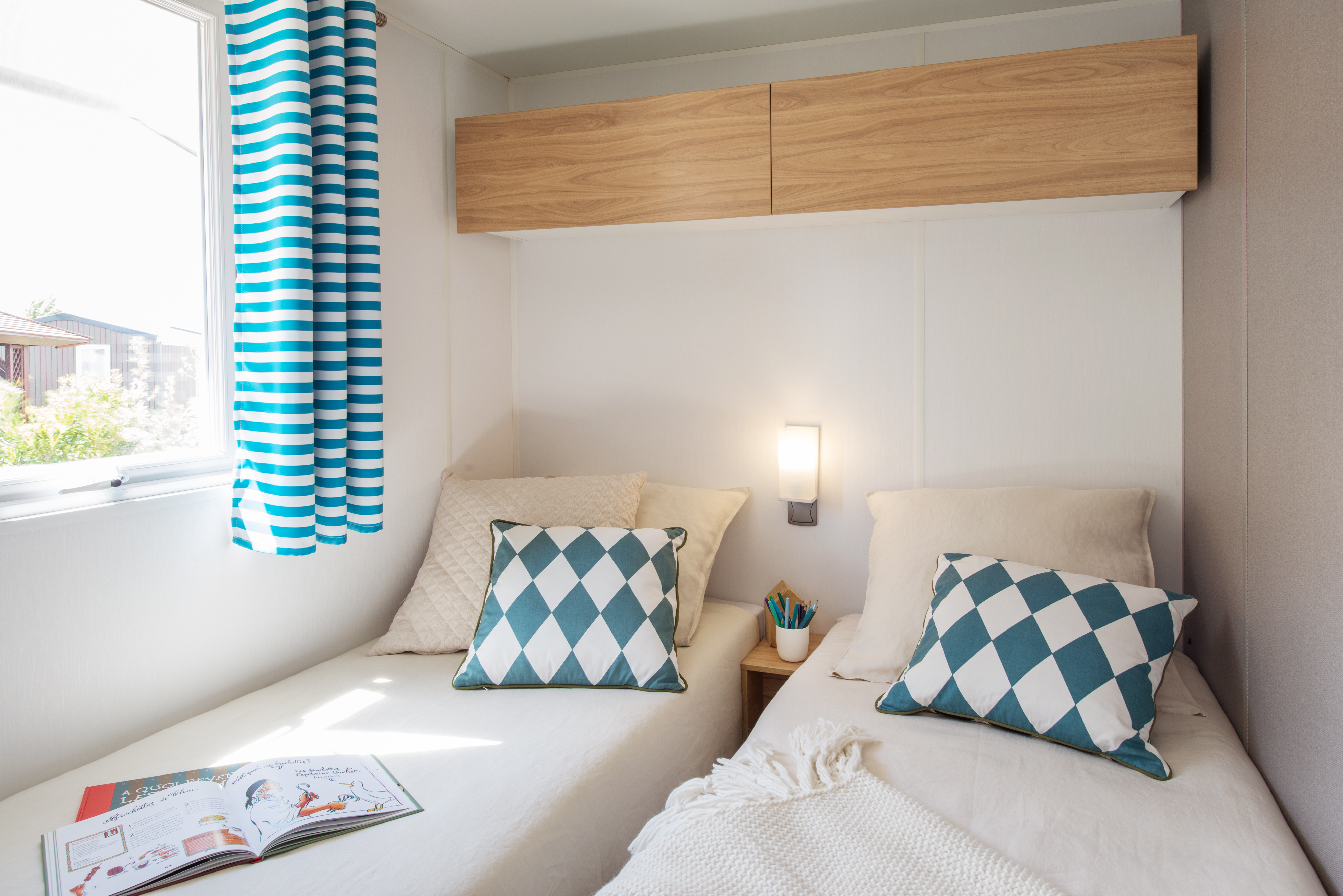 Mobil-home Famille 3 chambres - chambre lits simple
