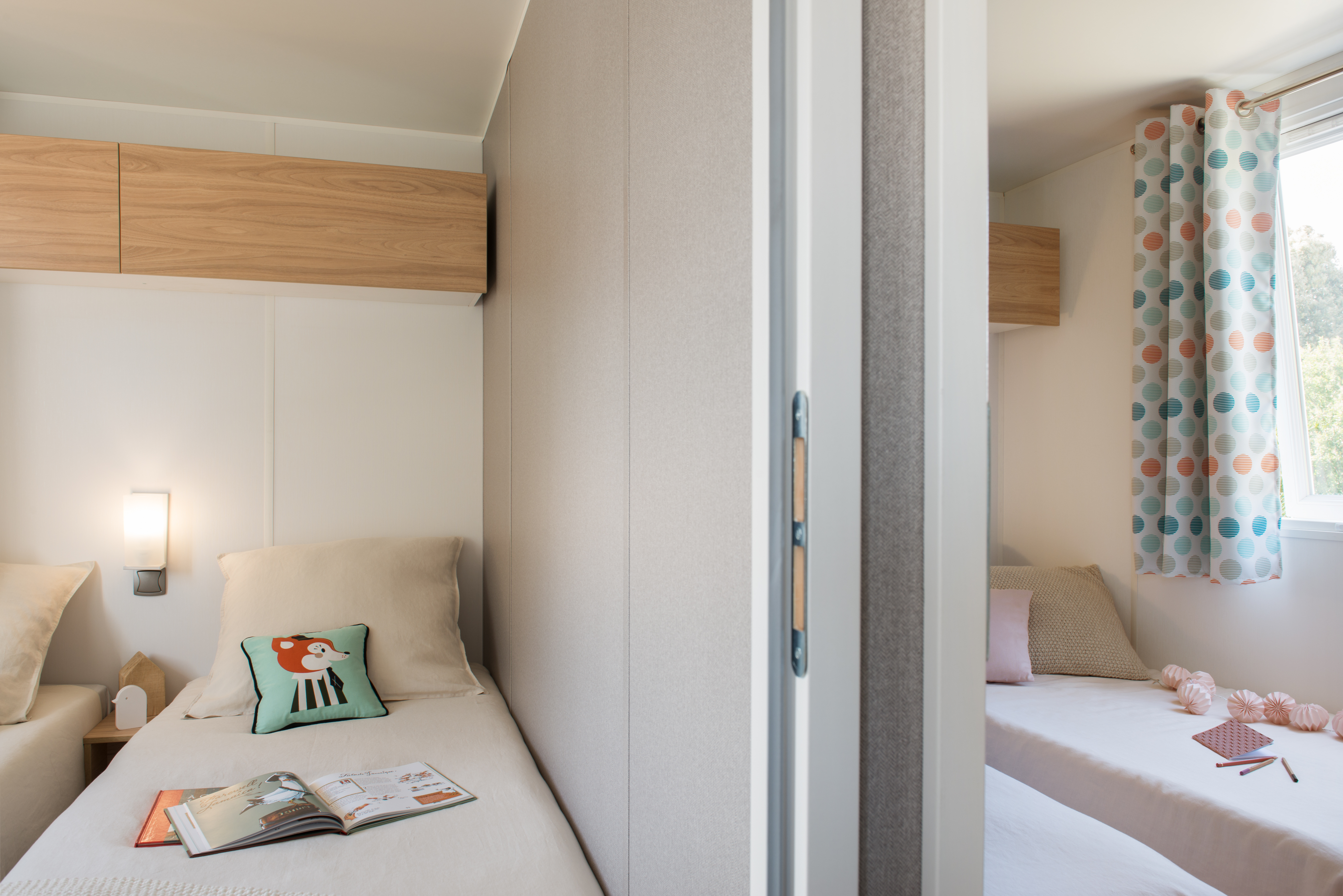 Mobil-home Famille 3 chambres - chambres lits simple